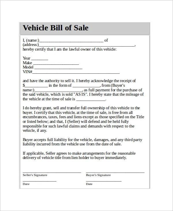 Vehicle Bill of Sale Template - 14+ Free Word, PDF Document - Automobile Sales Contract