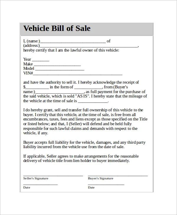 bill of sale contract for car