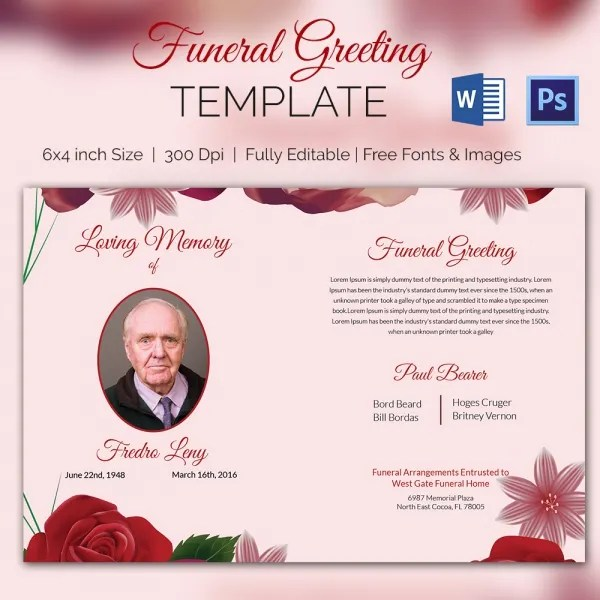 5+ Funeral Greeting Cards - Word, PSD Format Download Free - funeral announcement sample
