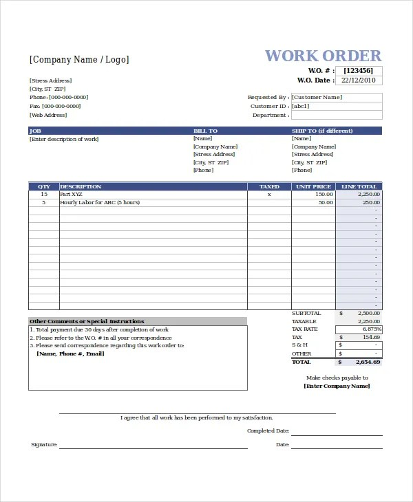 Excel Work Order Template - 6+ Free Excel Document Downloads - order templates free