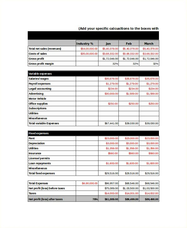 Income Statement Template - 8+ Free Word, Xls, PDF Document - projected income statement template