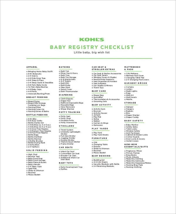 5+ Complete Baby Registry Checklists - Free Sample, Example, Format