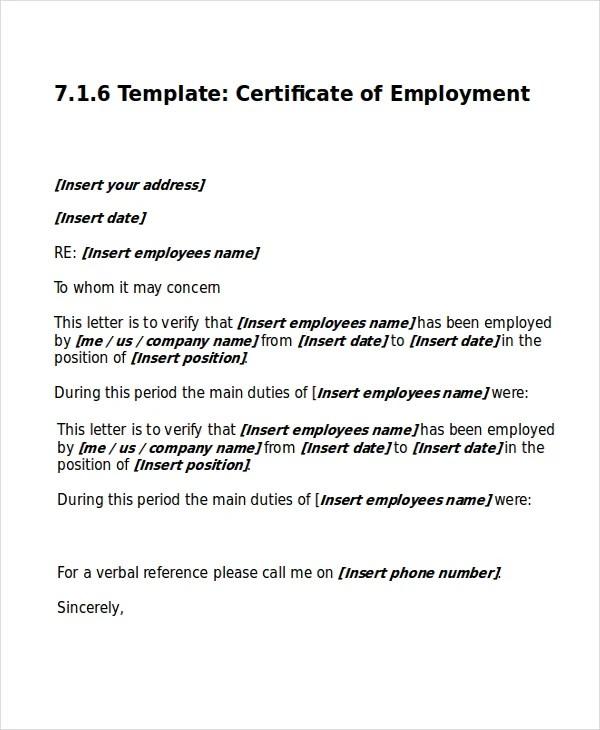 Work Certificate Template -7+ Free Word, Excel, PDF Documents - certificate template doc