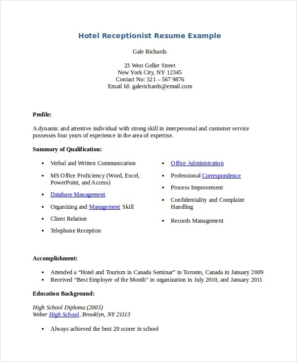 Receptionist Resume Template - 8+ Free Word, PDF Document Download - Service Receptionist Sample Resume