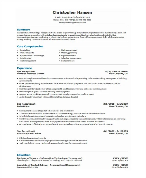 Receptionist Resume Template - 8+ Free Word, PDF Document Download