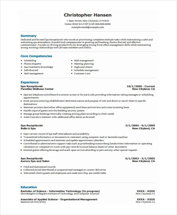 free samples of resumes for receptionist