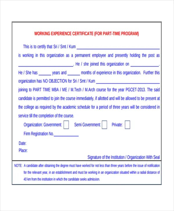 Work Certificate Template - 9+ Free Word, PDF Document Download - certificate sample in word
