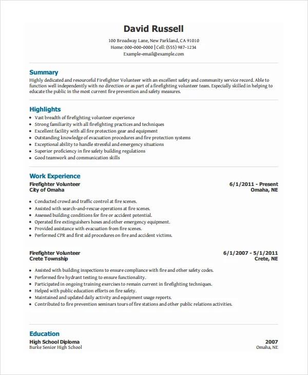 10+ Volunteer Resume Templates - PDF, DOC Free  Premium Templates