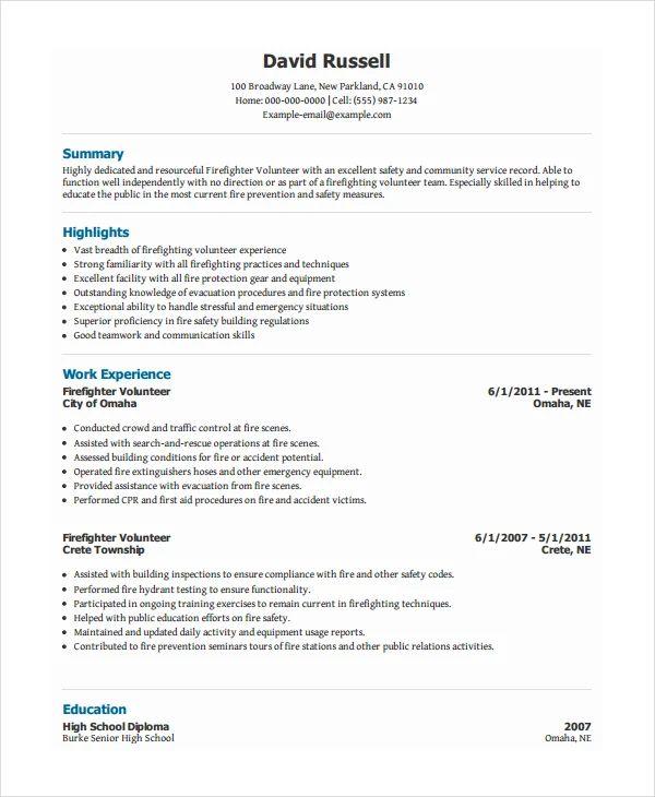 sample resume volunteer firefighter
