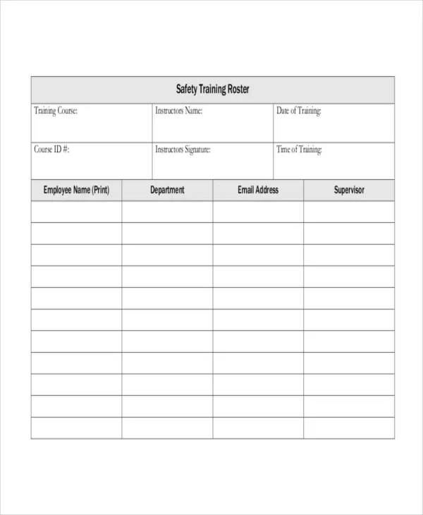 Training Roster Template - 7+ Free Word, PDF Document Downloads