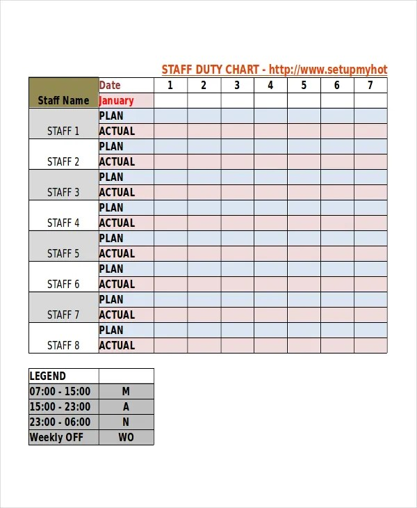 Duty Roster Template - 8+ Free Word, Excel, PDF Document Downloads - free roster templates