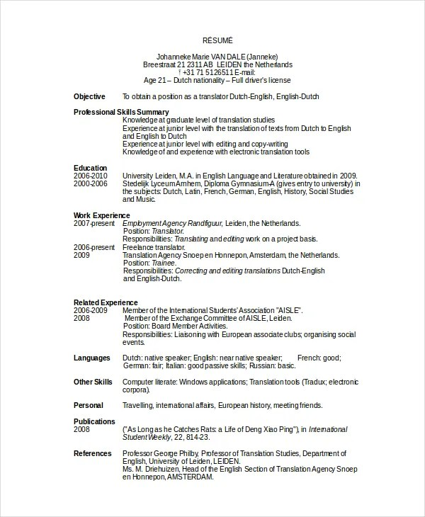10+ Work Resume Templates - PDF, DOC Free  Premium Templates