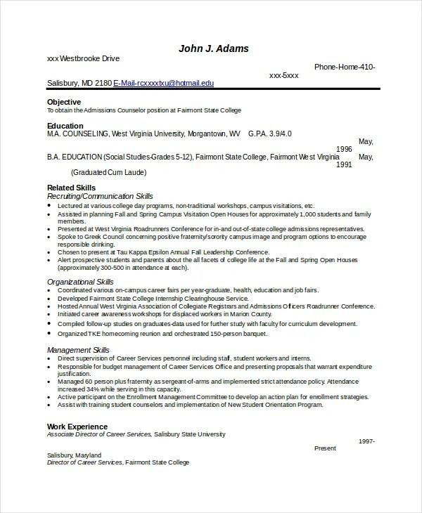 Resume Examples Pdf Download  Resume Word Builder