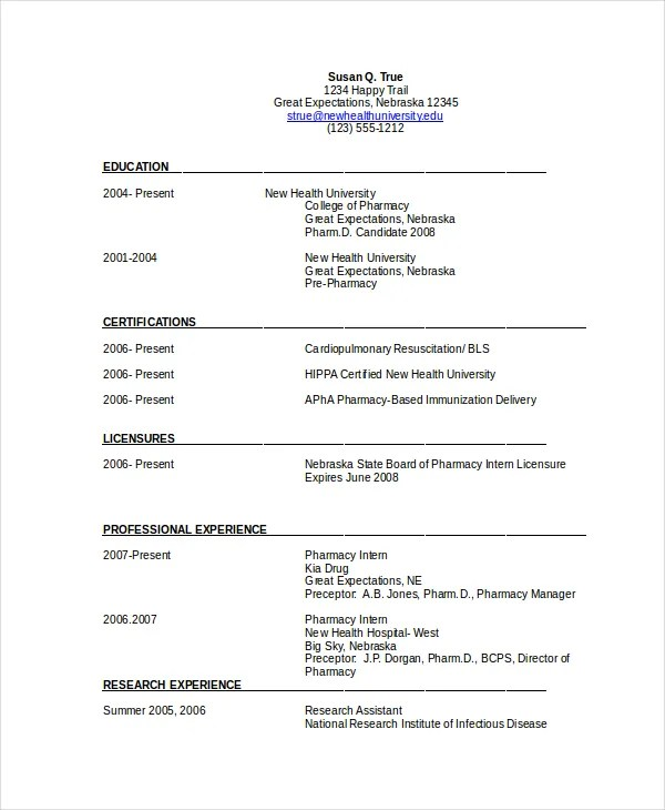 Pharmacist Resume Template - 6+ Free Word, PDF Document Downloads - pharmacist resume template
