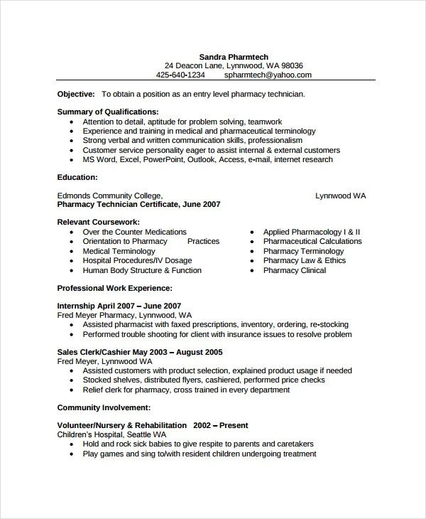 Pharmacy Resume Sample Pharmacist Resume Sample Writing Tips - pharmacy technician resume template