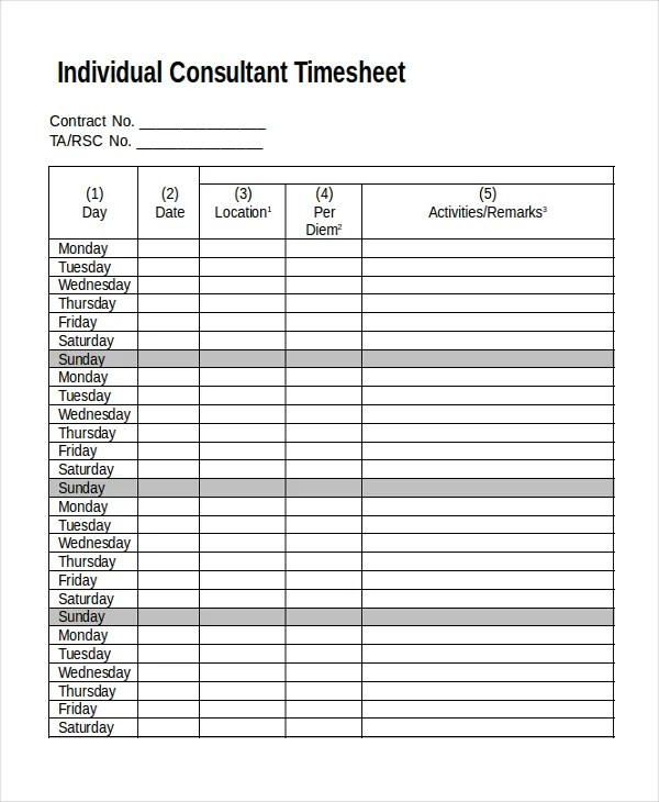 16+ Timesheet Templates - Free Sample, Example, Format Free