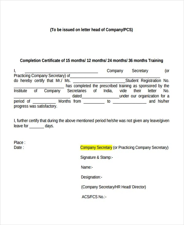 Internship Certificate Template - 7+ Free Word, PDF Document - no objection certificate template