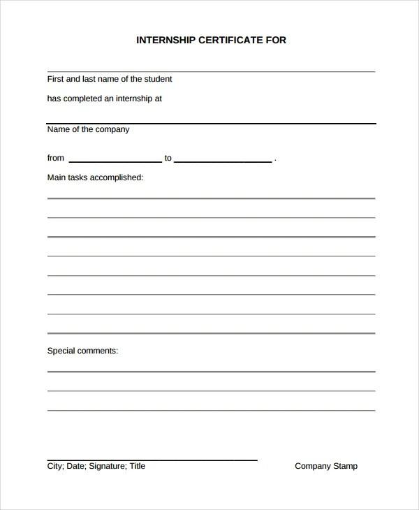 16+ Internship Certificate Templates - PDF, DOC Free  Premium - school certificates pdf