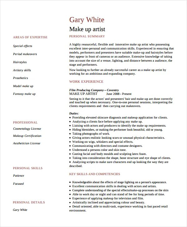 Artist Resume Template - 7+ Free Word, PDF Document Downloads Free - tattoo artist resume