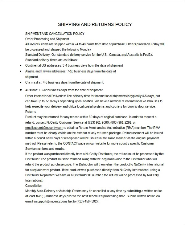 Return Policy Template - 7+ Free Word, PDF Document Downloads Free