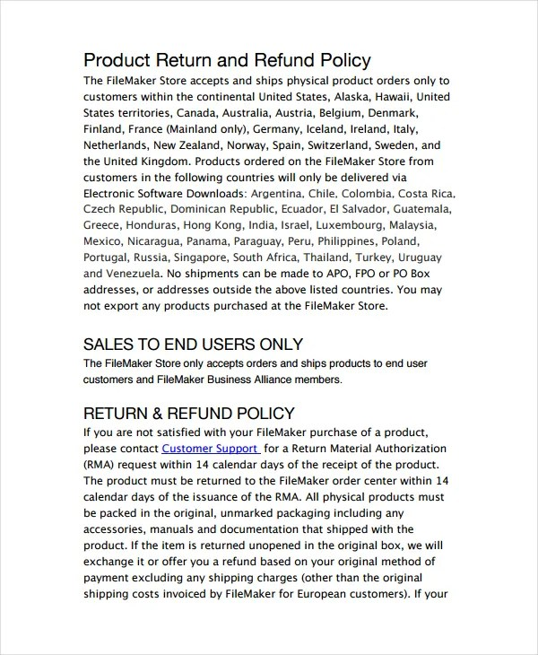 refunds policy template - Onwebioinnovate