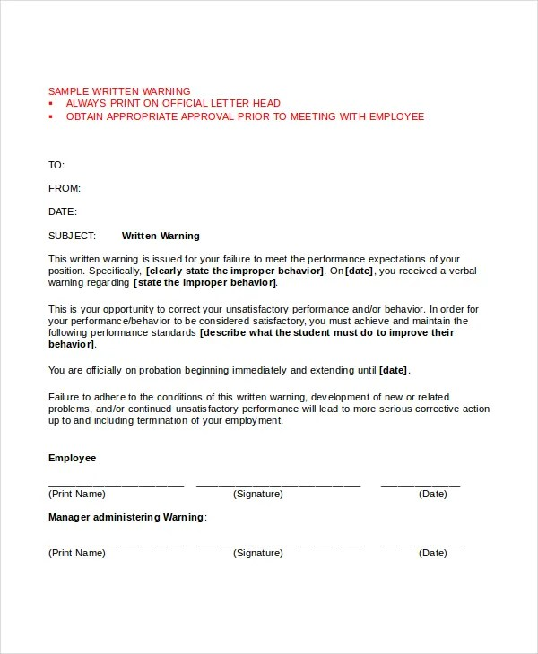 Warning Letter Template - 9+ Free Word, PDF Document Downloads
