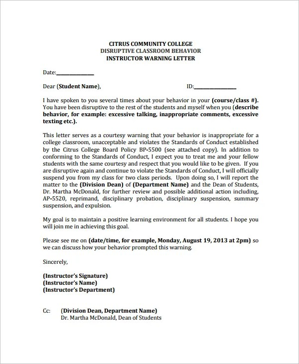writing warning letter for employee conduct - Teacheng