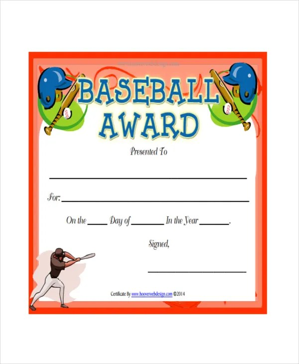 Baseball Certificate Template - 5+ Free PDF Document Downloads - certificate template for kids