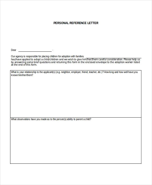 8+ Personal Reference Letter Templates - Free Sample, Example