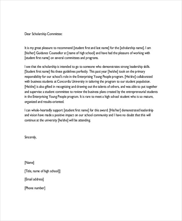 Character Reference Letter For Student Scholarship - Sample