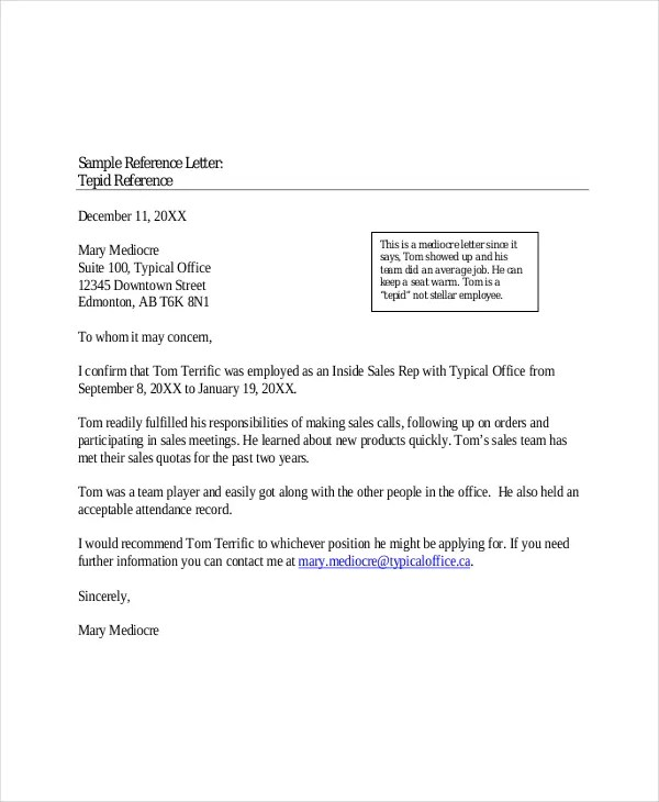 Reference Letters Reference Letter For Career And Placement - letter of reference sample
