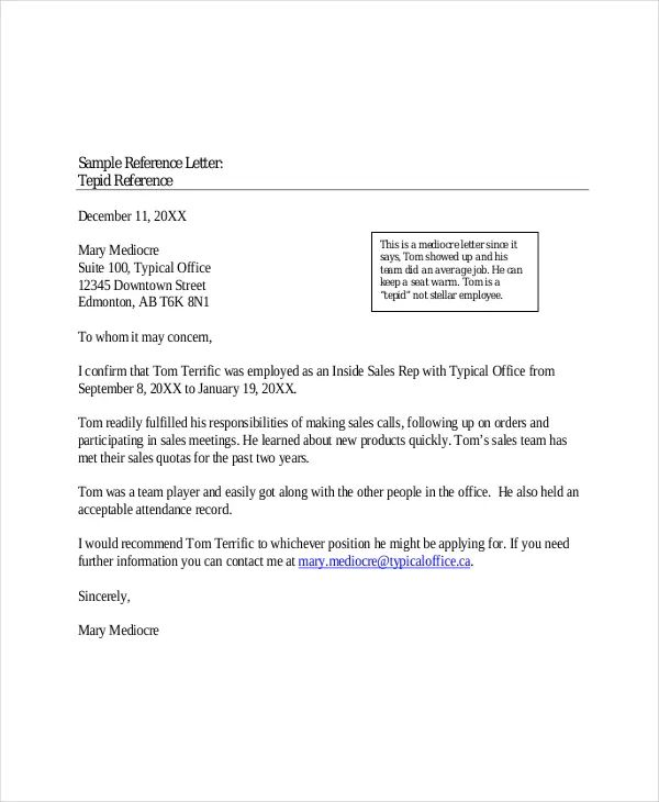 professional letter of reference example