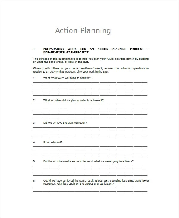 Word Action Plan Template - 7+ Free Word Document Downloads Free
