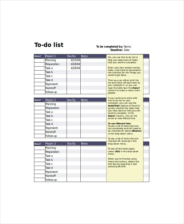 Project List Template 5+ Free Word, Excel, PDF Documents Download - project to do list templates