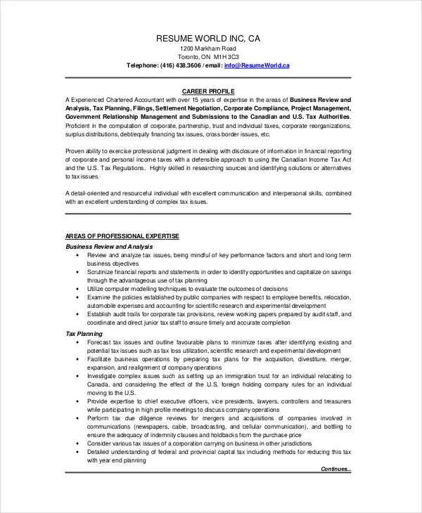 sample resume for chartered accountant canada