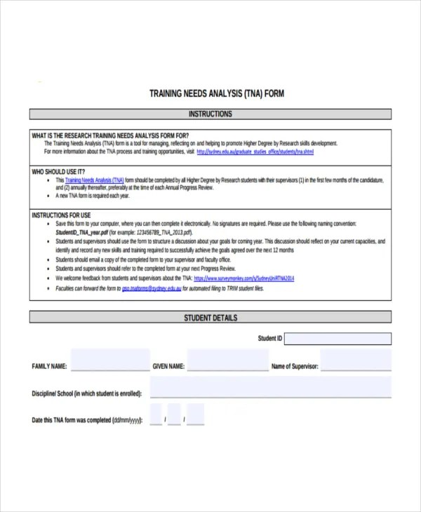 13+ Training Needs Analysis Templates - PDF, DOC Free  Premium