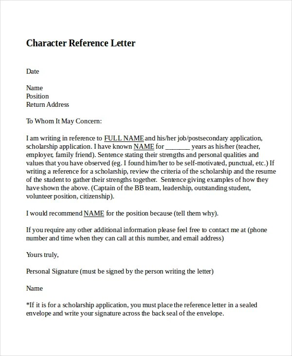 personal reference letter example - Onwebioinnovate - personal referral letter