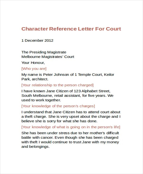 9+ Sample Character Reference Letter Templates - PDF, DOC Free - Sample Letters Of Character Reference