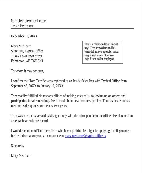 sample of a personal reference letter - Muckgreenidesign