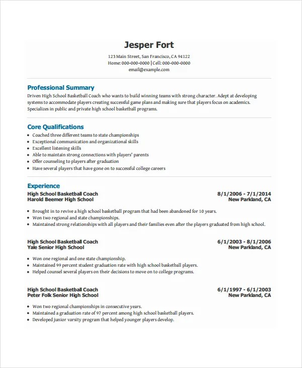 sample coach resume - Yelommyphonecompany