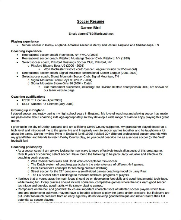 Coach Resume Template - 6+ Free Word, PDF Document Downloads Free