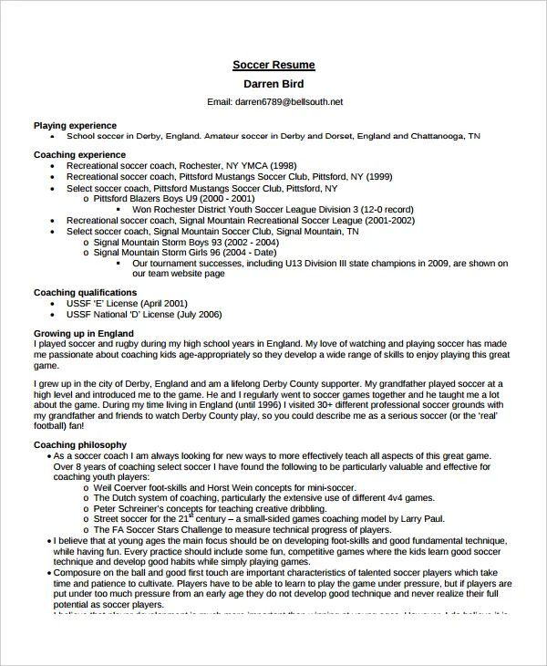 volleyball coach resume example