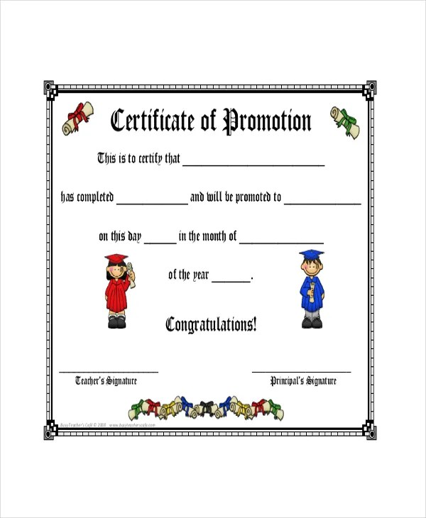 Promotion Certificate Template - 6+ Free Word, Excel, PDF Documents - certificate of rank template