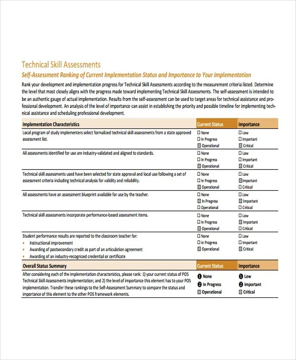 Skills Assessment Template - 9+ Free Word, PDF Document Downloads