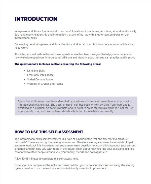 Self Assessment Template 15 Self Assessment Annual Self   Employee Self  Evaluation Forms Free