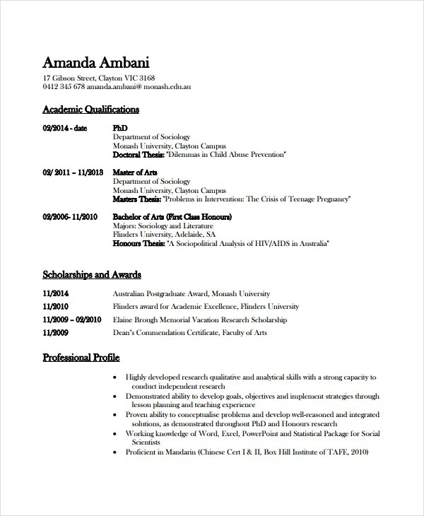 Academic Resume Template - 6+ Free Word, PDF Document Downloads - Resume For Scholarship