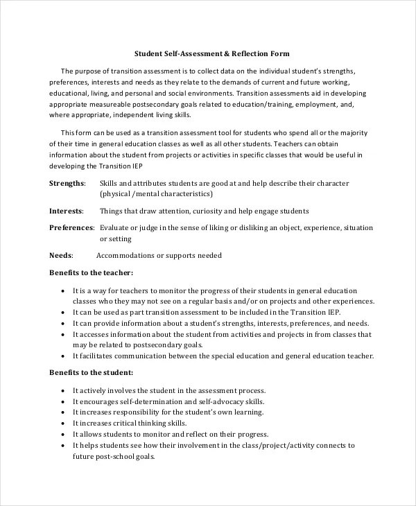 Self Assessment Template - 7+ Word, PDF Documents Download Free