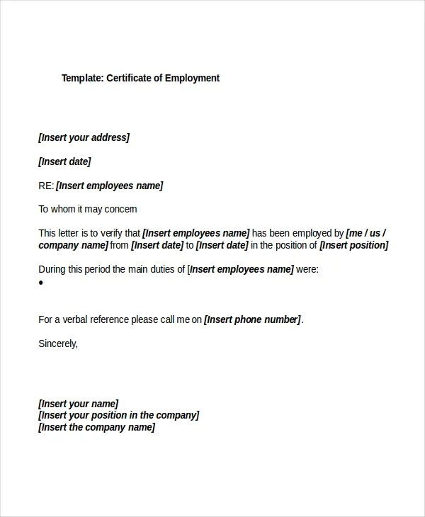 27+ Sample Certificate of Employment Templates - PDF, DOC, PSD, AI - certificate of employment template