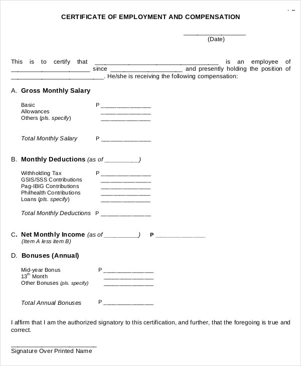certificate of employment sample form - Romeolandinez - sample certificate of service template