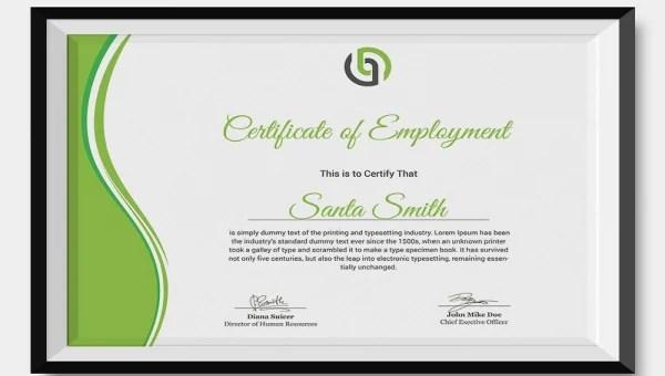 27+ Sample Certificate of Employment Templates - PDF, DOC, PSD, AI
